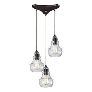 Menlow Park - 3 Light Linear Pendant in Transitional Style with Modern Farmhouse and Vintage Charm inspirations - 9 Inches tall and 5 inches wide