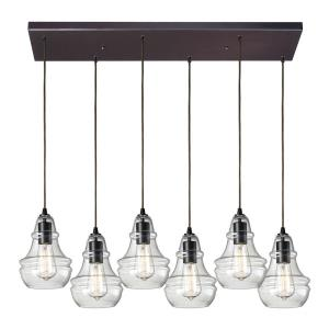 Menlow Park - 6 Light Rectangular Pendant in Transitional Style with Modern Farmhouse and Vintage Charm inspirations - 9 Inches tall and 9 inches wide