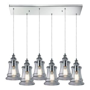 Menlow Park - 6 Light Rectangular Pendant in Transitional Style with Modern Farmhouse and Vintage Charm inspirations - 10 by 9 inches wide
