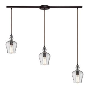 Menlow Park - 3 Light Linear Mini Pendant in Transitional Style with Vintage Charm and Country inspirations - 10 Inches tall and 36 inches wide