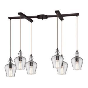 Menlow Park - 6 Light H-Bar Pendant in Transitional Style with Vintage Charm and Country/Cottage inspirations - 10 Inches tall and 33 inches wide