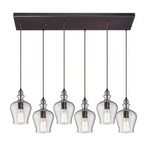 Menlow Park - 6 Light Rectangular Pendant in Transitional Style with Vintage Charm and Country inspirations - 10 Inches tall and 30 inches wide