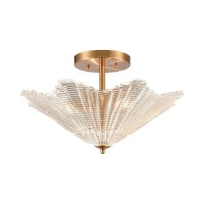 Radiance - 4 Light Semi-Flush Mount in Transitional Style with Art Deco and Luxe/Glam inspirations - 12 Inches tall and 20 inches wide