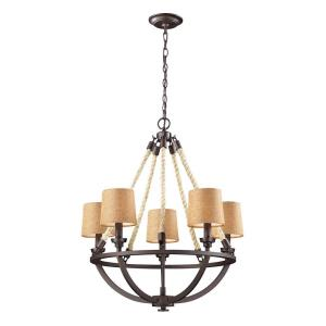 Natural Rope - 5 Light Chandelier in Transitional Style with Modern Farmhouse and Coastal/Beach inspirations - 29 Inches tall and 22 inches wide