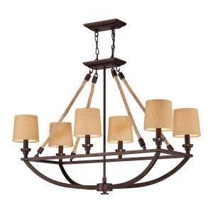 Natural Rope - 6 Light Chandelier in Transitional Style with Modern Farmhouse and Coastal/Beach inspirations - 31 Inches tall and 16 inches wide