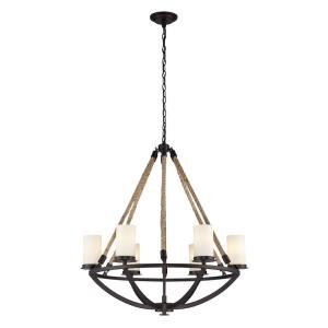 Natural Rope - 6 Light Chandelier in Transitional Style with Modern Farmhouse and Coastal/Beach inspirations - 32 Inches tall and 29 inches wide