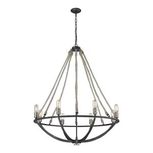 Natural Rope - 8 Light Chandelier in Transitional Style with Modern Farmhouse and Coastal/Beach inspirations - 44 Inches tall and 35 inches wide
