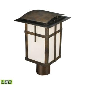 San Fernando - 10W 1 LED Outdoor Post Mount in Transitional Style with Mission and Asian inspirations - 14 Inches tall and 9 inches wide