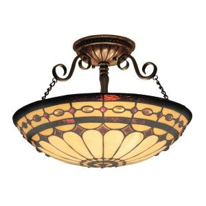 Diamond Ring - 3 Light Semi-Flush Mount in Traditional Style with Victorian and Vintage Charm inspirations - 11 Inches tall and 16 inches wide