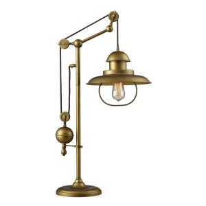 Farmhouse Transitional 1 Light Adjustable Table Lamp  Glass Base with Antique Brass Metal Shade