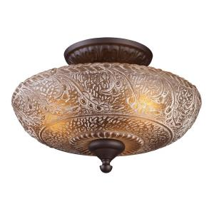 Norwich - 3 Light Semi-Flush Mount in Traditional Style with Victorian and Vintage Charm inspirations - 9.5 Inches tall and 14 inches wide