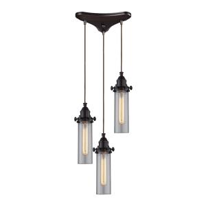 Fulton - 3 Light Triangular Pendant in Transitional Style with Urban/Industrial and Modern Farmhouse inspirations - 11 Inches tall and 10 inches wide