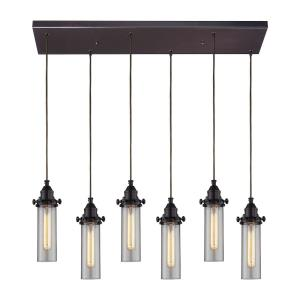 Fulton - 6 Light Rectangular Pendant in Transitional Style with Urban/Industrial and Modern Farmhouse inspirations - 11 Inches tall and 9 inches wide