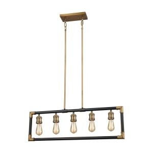 Lisbon - 5 Light Chandelier in Transitional Style with Modern Farmhouse and Urban/Industrial inspirations - 11 Inches tall and 35 inches wide