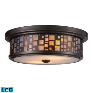 Tiffany - 19W 2 LED Flush Mount in Transitional Style with Mission and Retro inspirations - 4 Inches tall and 13 inches wide