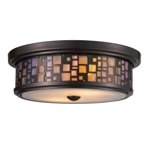 Tiffany - 2 Light Flush Mount in Transitional Style with Mission and Retro inspirations - 4 Inches tall and 13 inches wide