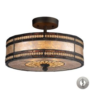 Mica Filigree - 2 Light Semi-Flush Mount in Traditional Style with Vintage Charm and Southwestern inspirations - 9 Inches tall and 14 inches wide