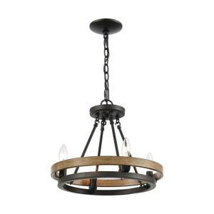 Ramsey - 4 Light Chandelier in Transitional Style with Modern Farmhouse and Art Deco inspirations - 14 Inches tall and 16 inches wide