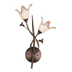 Fioritura - 2 Light Wall Sconce in Traditional Style with Nature-Inspired/Organic and Country/Cottage inspirations - 16 Inches tall and 10 inches wide
