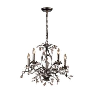 Circeo - 5 Light Chandelier in Traditional Style with Nature-Inspired/Organic and Shabby Chic inspirations - 17 Inches tall and 21 inches wide
