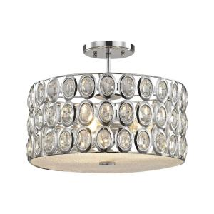 Tessa - 3 Light Semi-Flush Mount in Modern/Contemporary Style with Luxe/Glam and Retro inspirations - 12 Inches tall and 15 inches wide