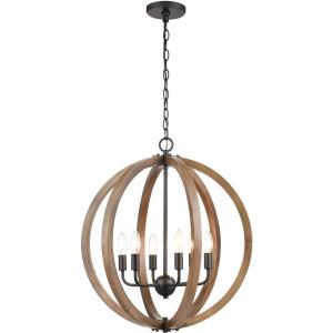 Barrow - 6 Light Chandelier in Transitional Style with Modern Farmhouse and Country/Cottage inspirations - 22 Inches tall and 22 inches wide