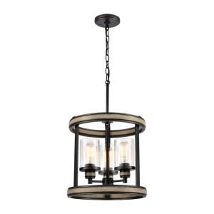 Beaufort - 3 Light Pendant in Transitional Style with Modern Farmhouse and Country/Cottage inspirations - 15 Inches tall and 14 inches wide