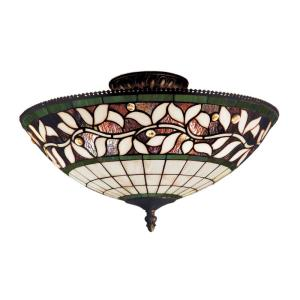 English Ivy - 3 Light Semi-Flush Mount in Traditional Style with Victorian and Vintage Charm inspirations - 8 Inches tall and 16 inches wide
