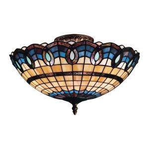 Victorian Ribbon - 3 Light Semi-Flush Mount in Traditional Style with Victorian and Vintage Charm inspirations - 8 Inches tall and 16 inches wide