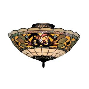 Tiffany Buckingham - 3 Light Semi-Flush Mount in Traditional Style with Victorian and Vintage Charm inspirations - 8 Inches tall and 16 inches wide