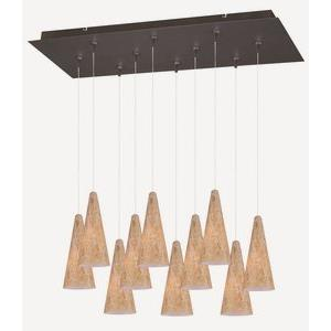 Lava - Ten Light Cone Xenon Pendant With Canopy