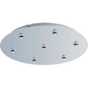 RapidJack Xenon-Seven-Port Round RapidJack Canopy in Traditional style-17 Inches wide by 2.5 inches high