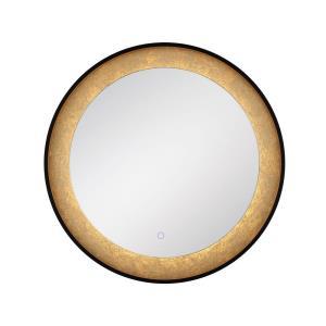 30 Inch 29W 1 LED Round Edge-Lit Gold Leaf Mirror