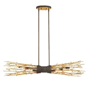 Kindling Linear Chandelier 6 Light  Metal