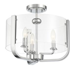 Campisi - 3 Light Semi-Flush Mount in Transitional Style - 16 Inches Wide by 12.75 Inches High