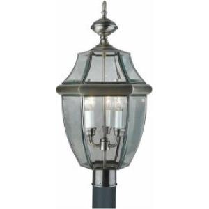 Three Light Antique Pewter Outdoor Post