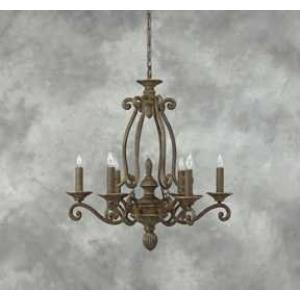 6 Light Iron And Poly Chandelier