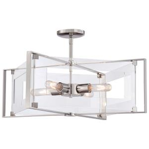 Crystal Clear - Four Light Convertible Semi-Flush Mount