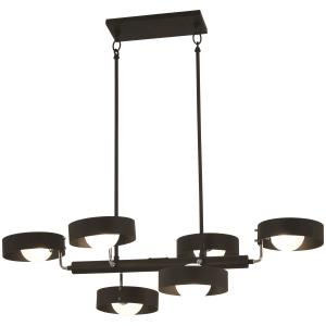 Lift Off-6 Light Chandelier in Contemporary Style-38 Inches Wide by 10 Inches Tall