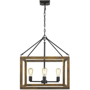 Sutton 4 Light Pendant in Black with Wood Frame