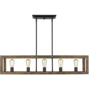 Sutton 5 Light Linear Pendant in Black with Wood Frame