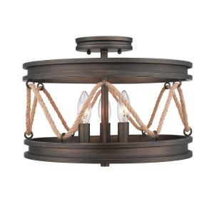 Chatham - 3 Light Semi-Flush Celing Steel in Sturdy style - 11 Inches high by 14.75 Inches wide