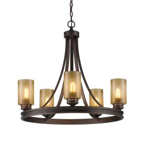 Hidalgo - Chandelier 5 Light Steel/Resin in Mediterranean style - 26 Inches high by 27.5 Inches wide