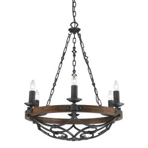 Madera Chandelier 6 Light  Steel/Wood Metal