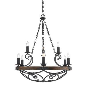 Madera Chandelier 9 Light  Steel/Wood Metal