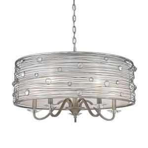 Joia - Chandelier 5 Light Steel Cloth in Contemporary style - 15.25 Inches high by 26 Inches wide