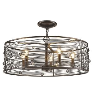 Bijoux - 5 Light Semi-Flush in Brushed Etruscan Bronze