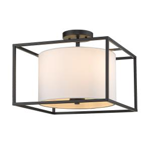 Manhattan  3 Light Semi-Flush Celing  Steel