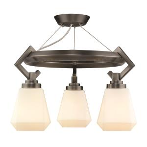 Hollis - 3 Light Semi-Flush in Aged Steel with Opal Glass