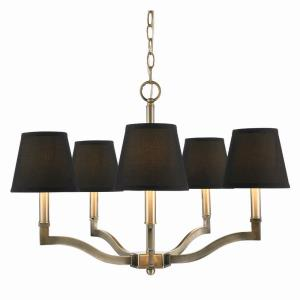 Waverly Chandelier 5 Light  Steel Tuxedo Black Cloth